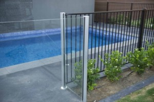 Glass Pool Gate with Tubular Fence