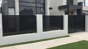 Custom Horizontal Slat Automated Driveway Gate & Fence by Reliance Fencing Adelaide