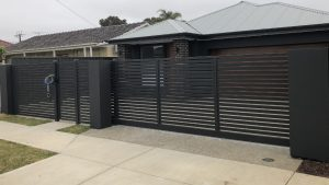 Aluminum slat Sliding Gate, with rendered pillars