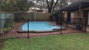 Basic pool fencing, in black. At Belair.